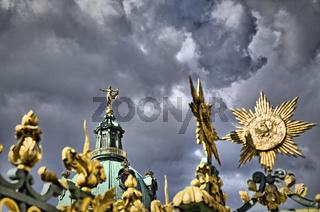 golden ornaments and sculpture of the  Schloss Charlottenburg, Berlin
