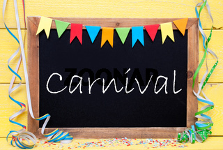 Chalkboard With Party Decoration, Text Carnival