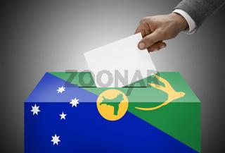 Ballot box painted into national flag colors - Christmas Island