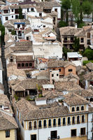 View over the roof tops of Albayzín, the oldest district of Granada, Andalusia, Spain