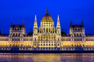 Budapest Parliament at Evening