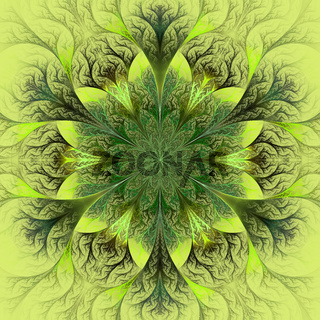 Beautiful fractal flower in brown, green and gray. Computer generated graphics.