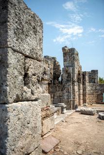 view of ruins in Kaunos ancient city (Turkey)