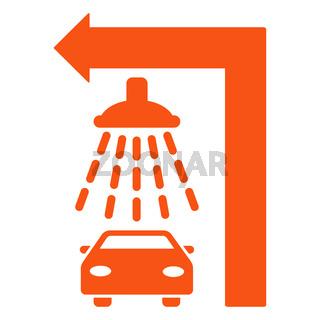 Carwash Turn Left Flat Vector Illustration