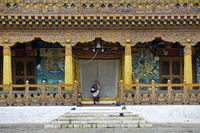 entrance to the coronation temple at the monastery and fortress Punakha Dzong, Punakah, Bhutan