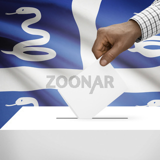 Ballot box with national flag on background - Martinique