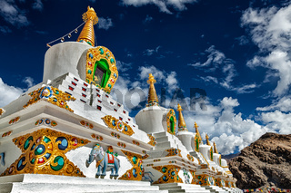 White chortens stupas in Ladakh, India