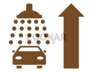 Car Shower Ahead Direction Flat Vector Illustration