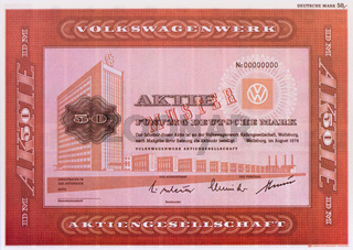 Aktie der Firma VW Volkswagenwerk