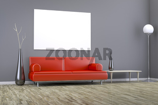 grey room with a sofa