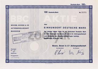 Aktie der Firma BBC Brown, Boveri