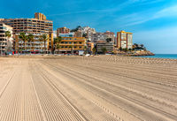 Empty beach of Finestrat in Benidorm. Alicante, Spain