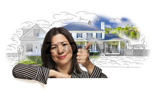 Woman with Thumbs Up Over House Drawing and Photo
