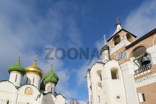 Transfiguration Cathedral and belfry at  St. Euthymius monastery in Suzdal. Golden Ring of Russia Travel