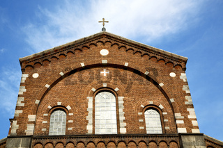 rose window  italy  lombardy     in  the legnano old   church      tower   tile