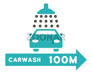 Carwash Right Direction Flat Raster Illustration