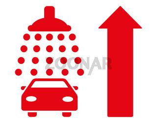 Car Shower Ahead Direction Flat Raster Illustration