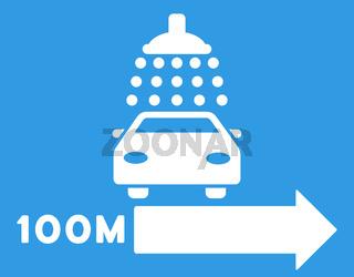 Car Shower Right Direction Flat Vector Illustration