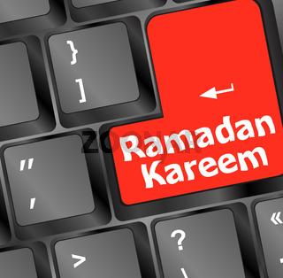 Computer keyboard with ramadan kareem word on it