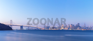 water,bay bridge with cityscape and skyline of san francisco
