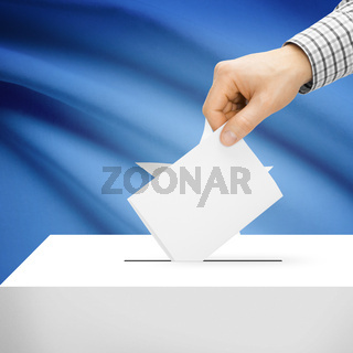 Voting concept - Ballot box with national flag on background - Somalia