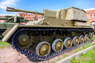 Soviet self-propelled artillery installation of the Su-76 in Museum of Artillery