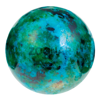 ball from green and blue chrysocolla gemstone