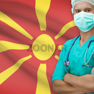 Surgeon with flag on background series - Macedonia