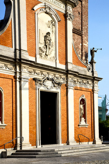 church  in  the mozzate  old   closed brick tower sidewalk  lombardy