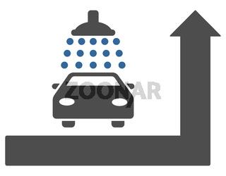 Carwash Turn Ahead Flat Raster Illustration