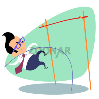 Businessman pole vault height business theme sports