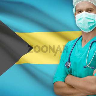 Surgeon with flag on background series - Bahamas