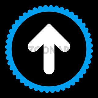 Arrow Up flat blue and white colors round stamp icon
