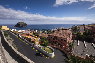 Looking down over a twisting sharp bend road in Garachico