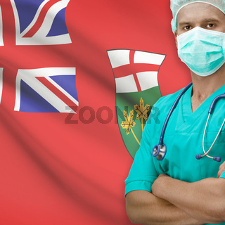Surgeon with Canadian province flag on background series - Ontario
