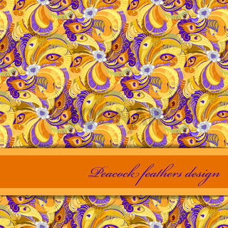 Orange peacock feathers pattern background. Text place.