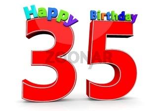 Die Zahl 35 mit Happy Birthday darauf