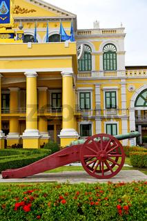 cannon bangkok in flag  garden and temple steet