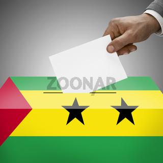 Ballot box painted into national flag colors - Sao Tome and Principe