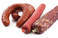 smoked sausage over white
