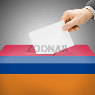 Voting concept - Ballot box painted into national flag colors - Armenia
