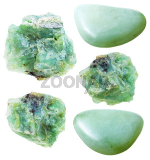 set of green opal natural gemstones