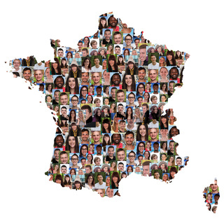 Frankreich France Karte Menschen junge Leute Gruppe Integration multikulturell Vielfalt
