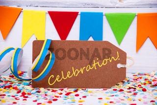 Label With Party Decoration, Text Celebration