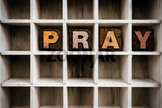 Pray Concept Wooden Letterpress Type in Drawer
