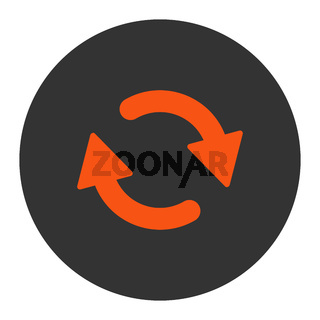 Refresh flat orange and gray colors round button