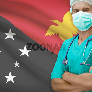 Surgeon with flag on background series - Papua New Guinea