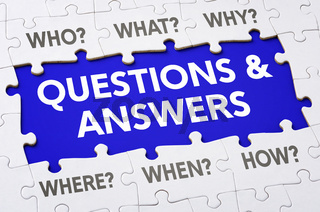 Text on puzzle pieces - Questions and answers