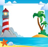 Frame with sea coast and lighthouse - picture illustration.