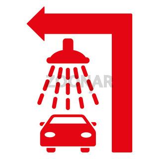 Carwash Turn Left Flat Raster Illustration